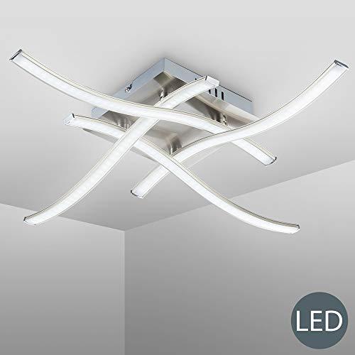 B.K. Licht plafonnier moderne, applique murale, 4 platines LED de 3,4W et 350Lm par platine, lampe salon chambre chambre d'enfant bureau salle à manger couloir, éclairage intérieur, 230V, IP20