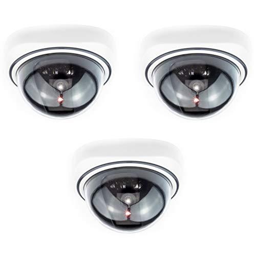 Digicharge Telecamera di Sicurezza Cupola Finta con LED Illuminati, Effetto Realistico CCTV Camera, per Interni ed Esterni, Impermeabile