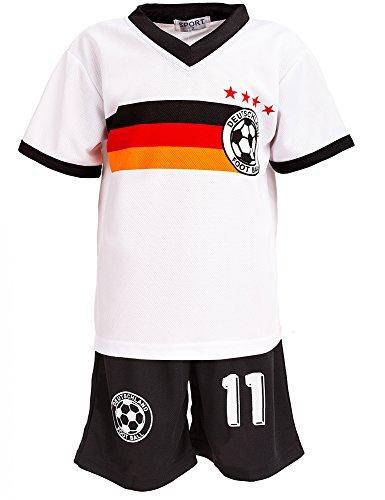 Top-Kiddy-Fashion 24brands - Jungen Fußball Set 2 Teilig Trainings Trikot Deutschland Italien Brasilien Spanien Türkei Schweiz Ländertrikot - 2630, Größe:104-110;Farbe:Deutschland Weiß