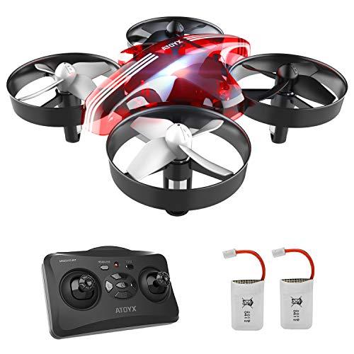 Mini Drone per Bambini e Principianti AT-66 RC Quadcopter Droni Elicottero Giocattolo ,3D Flip modalit Headless 2 Due Batterie Rosso