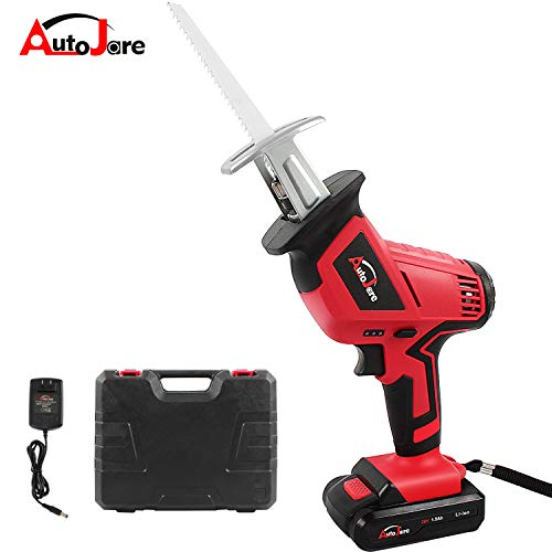 Cordless Reciprocating Saw Kit, AUTOJARE 18V/ 20V Max 1500mAh Lithium-Ion Reciprocating Saw with Reciprocating Blade, Variable Speed, Battery,Fast Charger, Carrying case