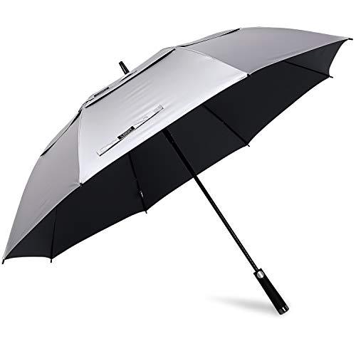 G4Free 62/68 Inch UV Protection Golf Umbrella Auto Open Vented Double Canopy Oversize Extra Large Windproof Sun Rain Umbrellas