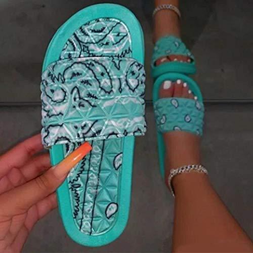 ypyrhh Zapatos para la Ducha y la Playa,Zapatillas de Playa Flor Raso-Verde_35,Ergonomic Flip-Flops Toe Thong Sandals