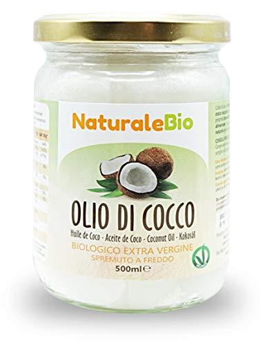 Olio di Cocco Biologico Extra Vergine 500 ml. Crudo e Spremuto a Freddo. Organico e Puro al 100%. Ideale sui Capelli, sul Corpo e ad Uso Alimentare. Olio di Cocco Bio Nativo e non Raffinato