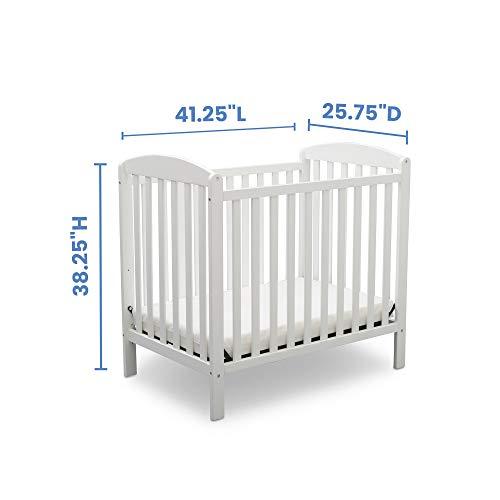 Product Image 8: Delta Children Emery Mini Convertible Baby Crib with 2.75-inch Mattress, Bianca White