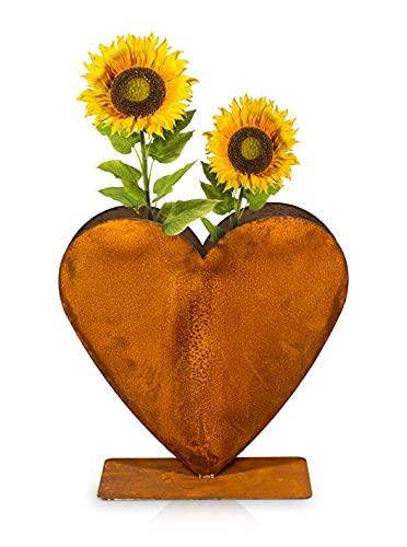 Blümelhuber Edelrost Gartendeko Vintage Metallherz - 30x30cm Herzen Deko zum Bepflanzen - Ideal für Garten oder Haustür