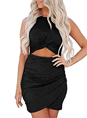 This slim fit wrap bodycon dress is made of soft fabric,breathable and comfortable to wear Features:Solid design,Hollow-out,front twist,bodycon wrap dress Unique - Hollow out design with soft fabric shows your charming taste,slim style beautify your ...