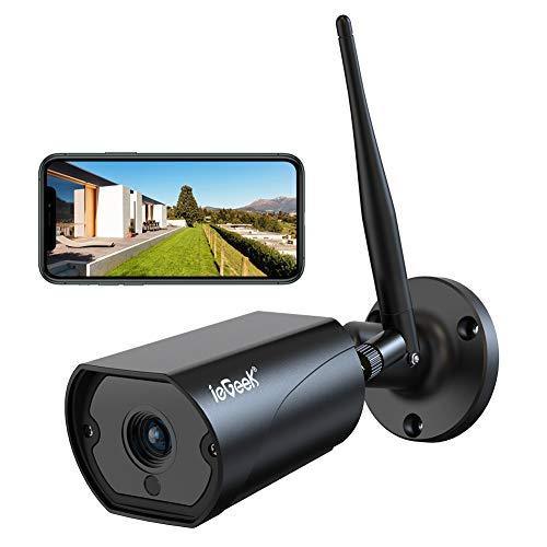 Cámara wifi para exteriores ieGeek, cámara IP de vigilancia con antena WiFi de 5dBi con detección de movimiento, audio bidireccional, IP66 a prueba de agua