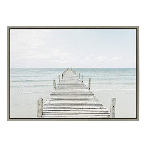 Kate and Laurel Sylvie Wooden Pier On The Beach Framed Canvas by...