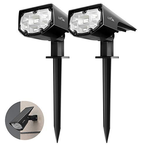 LITOM 12 LED Luci Solari da Esterno, IP67 Faretti Solari a Paesaggio con 2 Modalit di Illuminazione,...