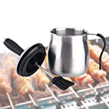WEQUALITY Basting Brush with Basting Pot Set,BBQ Grill Baking Utensil,Stainless Steel Sauce Pot,Ideal for Basting Poultry,Meat,Pastry and Oil.