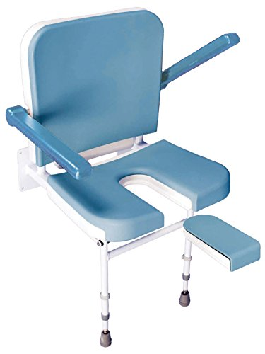 Solo Deluxe U Shape Padded Fold Up Shower Seat with Back and Arms - Height Adjustable - Wall Mounted
