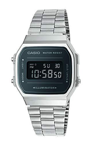 Casio Unisex Erwachsene Digital Quarz Uhr mit Edelstahl Armband A168WEM-1EF