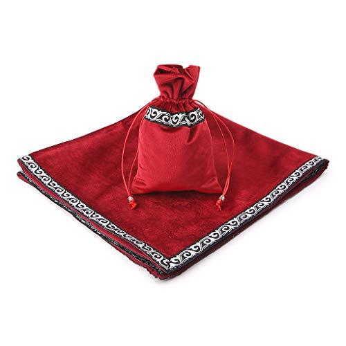 ruiruiNIE Tarjetas Velvet Tarot Adivinación Altar Tarot Tarjetas Bolsa Juego de Mesa Accesorios - Rojo-L