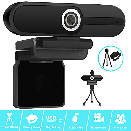4K Webcam, Webcam 8MP HD Computer Camera with Microphone, Pro Streaming Web Camera with Privacy Shutter and Tripod, PC Mac Desktop Laptop Notebook USB Webcams for Video Calling Recording Webcam