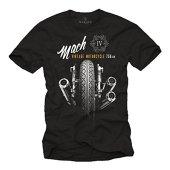 MAKAYA Camisetas Moteras - Vintage Moto Mach 4 Hombre Negras M