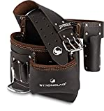 STRONGLAD 5-Pocket Single Side Brown Oil Tanned Leather Tool Belt Pouch Work/Apron for Carpenter and Builders. Toolbelt for Construction.