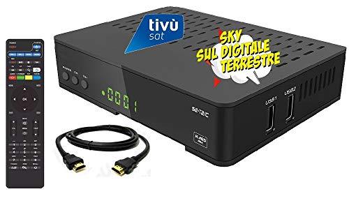 Decoder combo doppio tuner Satellitare HD e Digitale Terrestre HD compatibile con tessera Tivusat con tessere Viaccess con Tessera Mediaset Premium e tessera Sky Digitale Terrestre