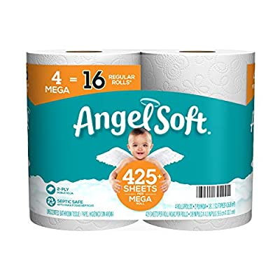An Ideal Balance of Softness and Strength at a price that always fits your budget Each Mega Roll is equal to 4 Angel Soft Regular Rolls and they still fit standard holders Long-lasting Mega Rolls have 4 times the toilet paper, so you change the roll ...