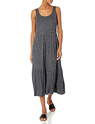 Comfortable, flowy fit Extraordinarily soft Cozy Knit with a brushed surface and comfortable stretch Scoop neckline An Amazon brand