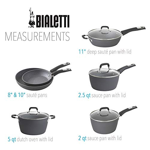 Product Image 7: Bialetti Textured Nonstick 10-Piece Oven-Safe Cookware Set, Gray Impact