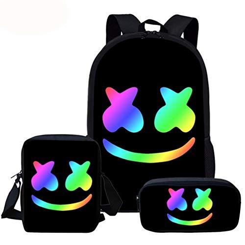 WYCY Zaino per studenti Marshmello Schoolbag Set di 3 Unisex School Book Bag Trend Zaino e Borsa a tracolla Astuccio per bambini in et scolare (Colore B)