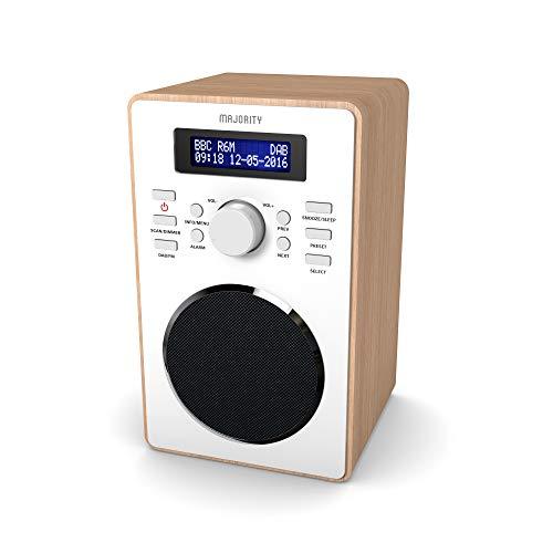 MAJORITY Barton II DAB/DAB+/UKW Digital-Radio, Uhrenradio, Dualer Radiowecker Weckzeiten, Schlummerfunktion und Sleeptimer, Kopfhörer-Anschluss (Eiche)