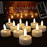 Set of 10 Flameless LED Ivory Tealights Candles Featuring Realistic Black Wick with Daily Timer, 1 Remote Control and 10 Batteries