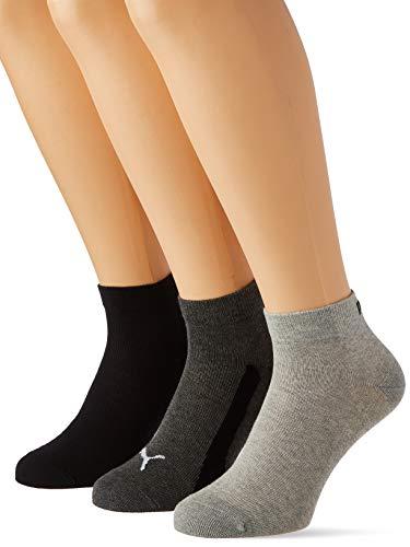 PUMA Kids' BWT Quarter Socks (3 Pack) Calzini, Black, 35-38 Unisex-Bambini