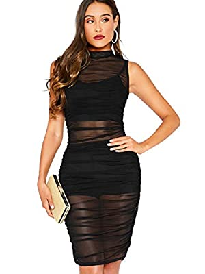 92% polyester + 8% spandex, fabric touches comfortable, pls noted without underwear Mesh sheer see through, sleeveless, short dress, tank, ruched dresses for cocktail This sexy clubwear dresses brings a new twist to your wardrobe and also show your s...
