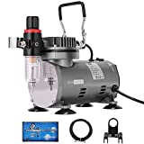 VIVOHOME 110-120V Professional Airbrushing Paint System with 1/5 HP Air Compressor and 1 Airbrush Kit for Tattoo Makeup Shoes Cake Decoration Silver