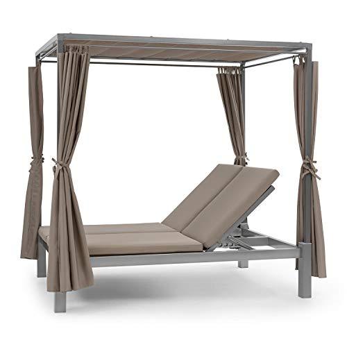 blumfeldt Eremitage Double Sunbed - Stahl-Rahmen, einziehbares Sonnendach, 4 Seitenvorhänge, Sheer Luxury: Kissen mit hochwertigen Bezügen, Rückenlehnen verstellbar, max. 220 kg, Taupe
