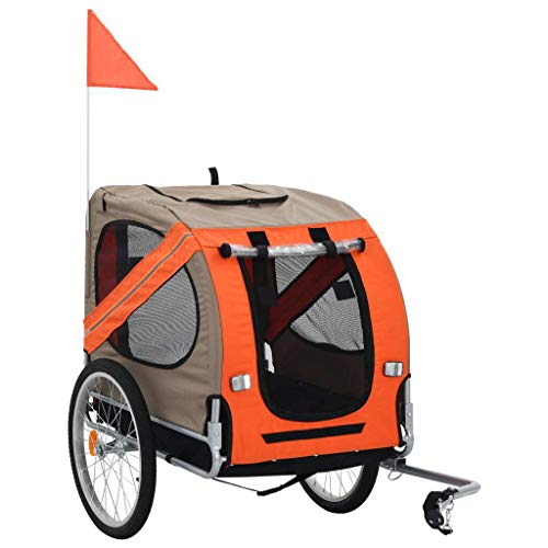 vidaXL Remolque de Bicicleta para Perros Naranja y Gris