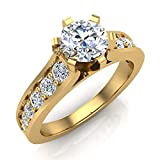 Round Brilliant Diamond Engagement Rings for women 18K Yellow Gold 1.00 ctw (G, SI) (Ring Size 5.5)