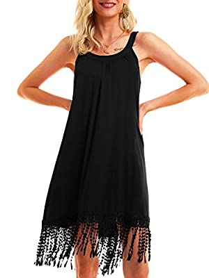 Material :95% Rayon 5% Spandex,it has great sense of touch, stretch. It's breathable, soft and comfortable. Features:Midi dress, waistline, sleeveless, round neck,U-neck,flare skirt bottom, perfect for Spring,Summer and Autumn. Situation: daily wear,...