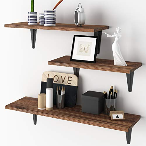 BAMEOS Floating Shelves, Rustic Wood Wall Storage Shelves, Wall Mounted Shelf Organizer Set of 3 for Living Room,...