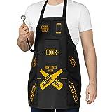 Froster Tablier de cuisine imperméable pour homme avec poches pour la bière, le ketchup, la moutarde, idéal pour le barbecue ou la cuisine, décapsuleur inclus, idée cadeau amusante
