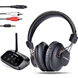 Avantree HT5009 40 Hrs Wireless Headphones for TV Watching w/Bluetooth Transmitter - Digital Optical RCA Aux, Pass-Through Support, Hearing Headset Ideal for Seniors, No Audio Delay, 164ft Long Range