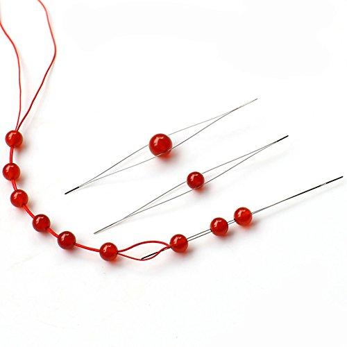 5PCS Different Size Mano Ultrafine Beads Needle - Wear Bead Filo Medio Apertura ago Grande Occhio Pins Craft fermapunto per Il Fai da Te Collana Perline Filo dell' ago Wear Pins