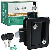 LATCH.IT Black RV Door Latch | RV Door Locks for Travel Trailers | Travel Trailer Door Latch | 100% Metal Camper Door Lock w/ 4 Camper Keys | Trailer Door Lock - Easy-to-Install & Fits Most!