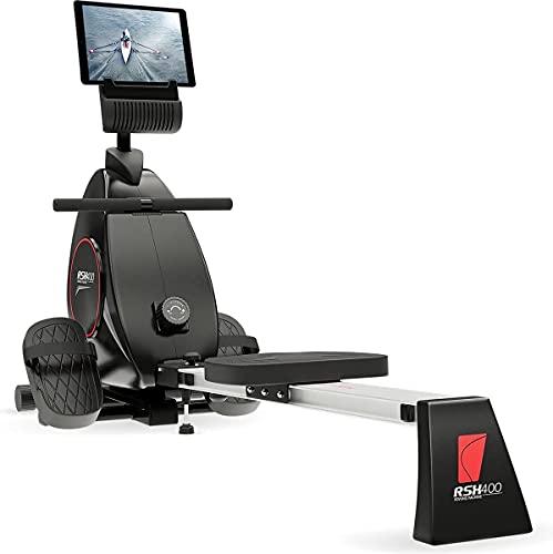 Sportstech RSX400 Rudergerät | Deutsches Qualitätsunternehmen | Video Events & Multiplayer App inkl. Pulsgurt | Rudermaschine klappbar für Zuhause | 8facher Magnetwiderstand & kugelgelagerter Sitz