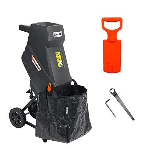 Broyeur électrique à lames DELTAFOX - DG-EKS 2445-2400 W - incl. sac de ramassage de 45 l - léger avec 12 kg - roues avec capot de roue - broyeur de jardin pour branches de 45 mm - déchiqueteuse