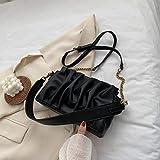 Hzryc PU Bolso De Cuero Bolsa De Pliegues De Diseño Elegante para Las Mujeres Bolsos De Hombro del Color Sólido del Bolso Femenino Viajes,Negro