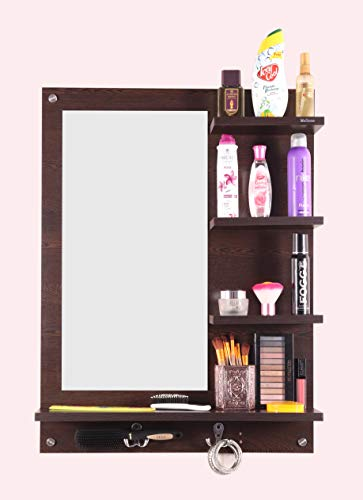 Madhuran Engineered Wood Dressing Table Mirror with Shelf Wenge