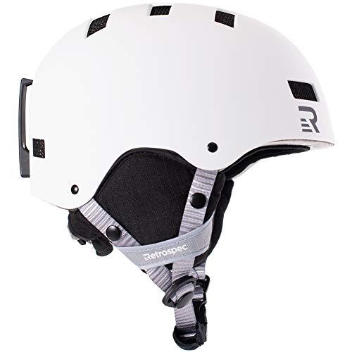 Retrospec Traverse H1 Ski & Snowboard Helmet, Convertible to Bike/Skate, Matte White, Small (51-55cm)