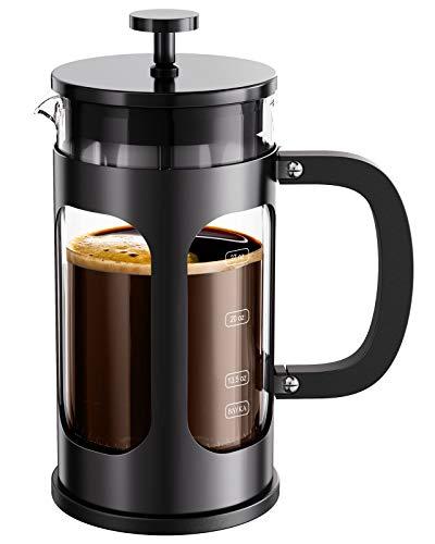 BAYKA Französische Presse Kaffee Tee Maker, 304 Edelstahl Kaffeepresse mit 4 Ebenen Filtrationssystem, hitzebeständiges verdicktes Borosilikatglas, 300 ml, schwarz