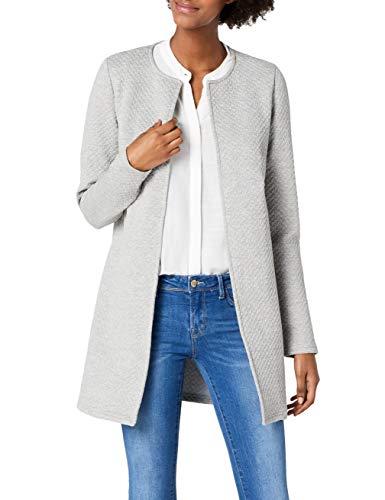 Vila Clothes Damen VINAJA New Long JKT Blazer, Grau (Light Grey Melange), 38 (Herstellergröße: M)