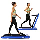 OppsDecor Under Desk Treadmill 2in1 Walking Running Machine Electric Treadmill Folding Pad Treadmill with Remote Control and Bluetooth Speaker for Home & Office Workout Indoor Exercise Machine (Blue)