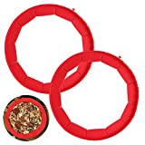 Pie Crust Protector Shield Adjustable Silicone Pie Crust Mold Shield 2 Pcs Red pie shields Reusable Pie Edge Protector for Baking Fit 8'' to 11'' Diameter Pies Pizza