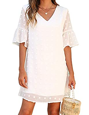 Material: chiffon,lightweight/breathable and comfortable to wear. Features: this cute dress for women shapes with v neck, 3/4 ruffle sleeve, sheer sleeve, knitted accent pom poms, a shift silhouette that falls into a straight hemline,flowy summer dre...